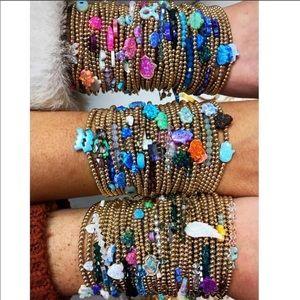 Hazel Boutique Evil Eye Opal & Gold Bead Bracelet